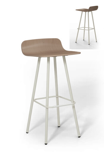 Harper Modern Barstool with Wood Seat and