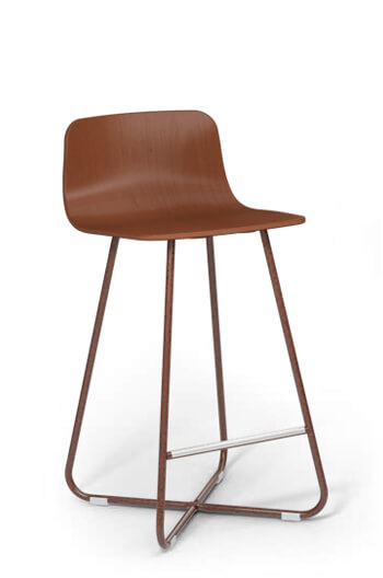 "Harper 26"" X-Base Stool with Wood Seat and Back by Grand Rapids Co."