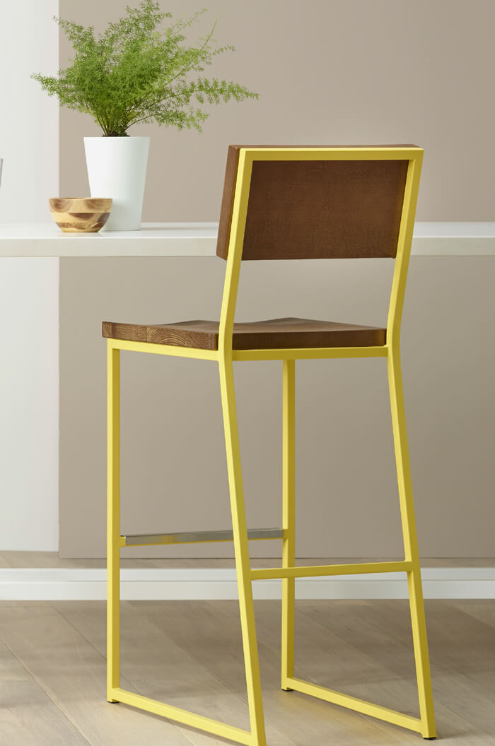 Brady Rustic Modern Bar Stool In Yellow Brown More