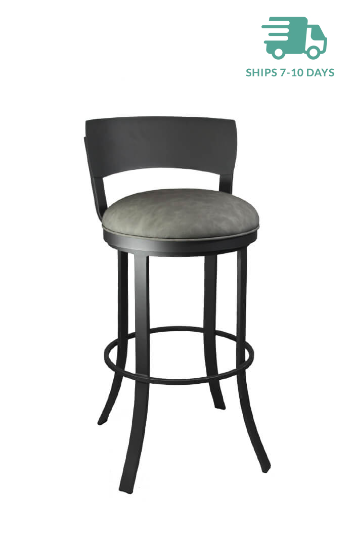 Bailey Swivel Stool with Medium Gray vinyl seat color