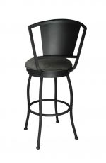 Bristol Swivel Stool with Metal Backrest in Gray