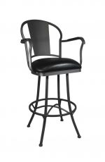 Callee Charleston Swivel Stool with Arms in Gray and Black
