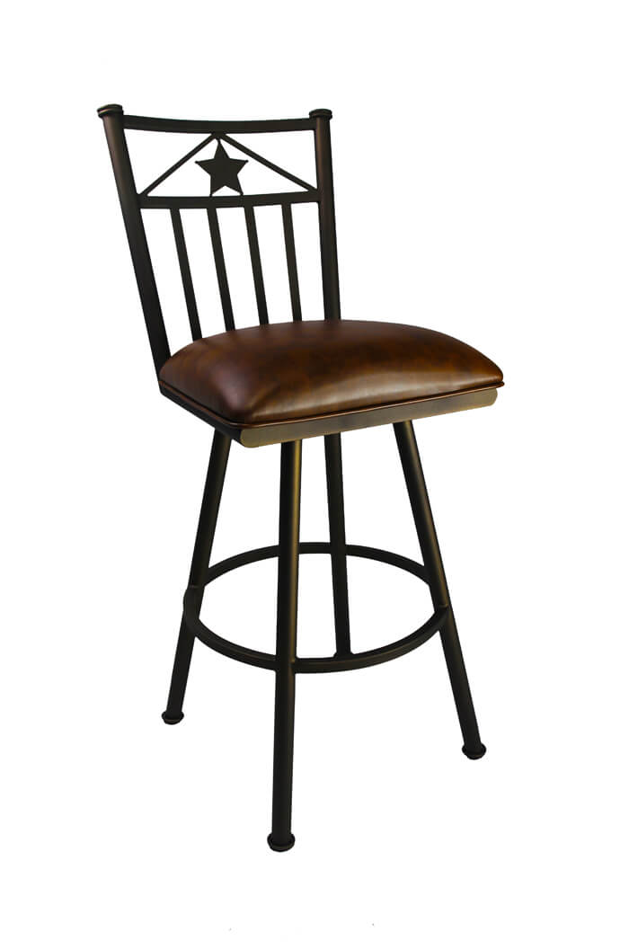 Lonestar Swivel Stool With Sun Bronze And Ranger Saddle