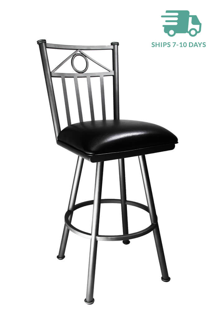 Callee Sevilla Swivel Counter Stool in Grey Finish and Black Vinyl