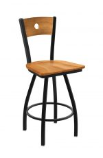 Holland's #830 Voltaire XL Big and Tall Barstool with Back - In Pewter Metal Finish and Medium Maple Seat and Wood Back Finish