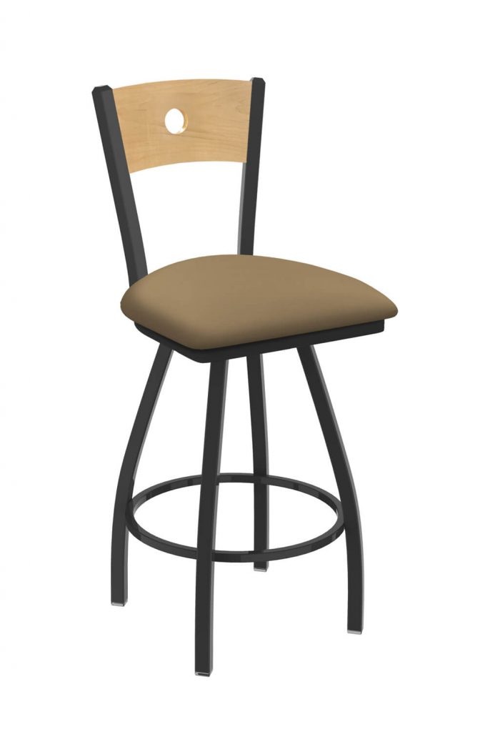 Holland's #830 Voltaire XL Big and Tall Barstool with Back - In Pewter Metal Finish, Natural Maple Wood Back, and Brown Seat Cushion