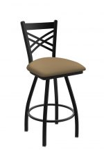 Holland's Catalina Big-And-Tall Swivel Barstool with Black Metal Finish and Canter Sand (tan) Vinyl Seat