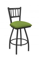 Holland's Contessa Big and Tall Swivel Bar Stool with Vertical Slats on Back in Pewter Metal Finish and Canter Kiwi Green vinyl seat cushion