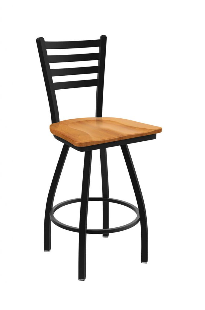 Holland's Jackie Big and Tall Swivel Bar Stool with Horizontal Slats on Back in Black Metal Finish and Medium Maple wood seat finish