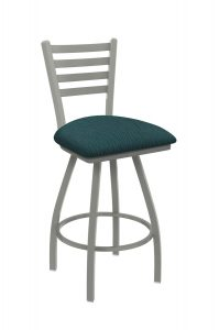 Holland's Jackie Big and Tall Swivel Bar Stool with Horizontal Slats on Back in Nickel Metal Finish and Graph Tidal teal fabric seat cushion