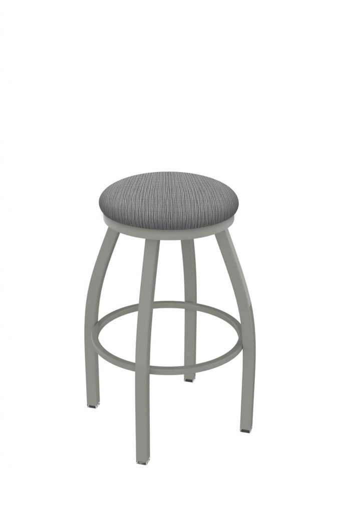 Holland's Misha #x802 Big and Tall Backless Swivel Stool in Nickel Metal Finish and Gray Seat Cushion