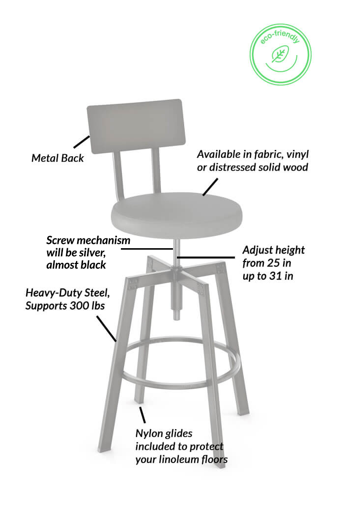 Amazing Architect Adjustable Screw Stool With Metal Back Gmtry Best Dining Table And Chair Ideas Images Gmtryco