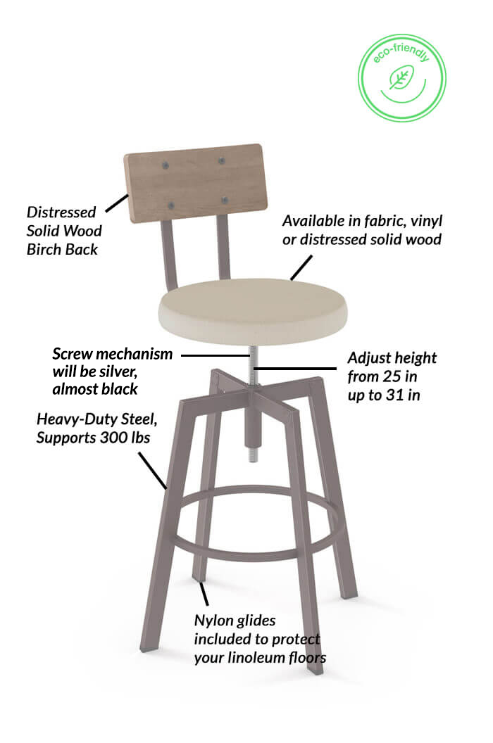 Swell Architect Adjustable Screw Stool With Distressed Wood Back Gmtry Best Dining Table And Chair Ideas Images Gmtryco