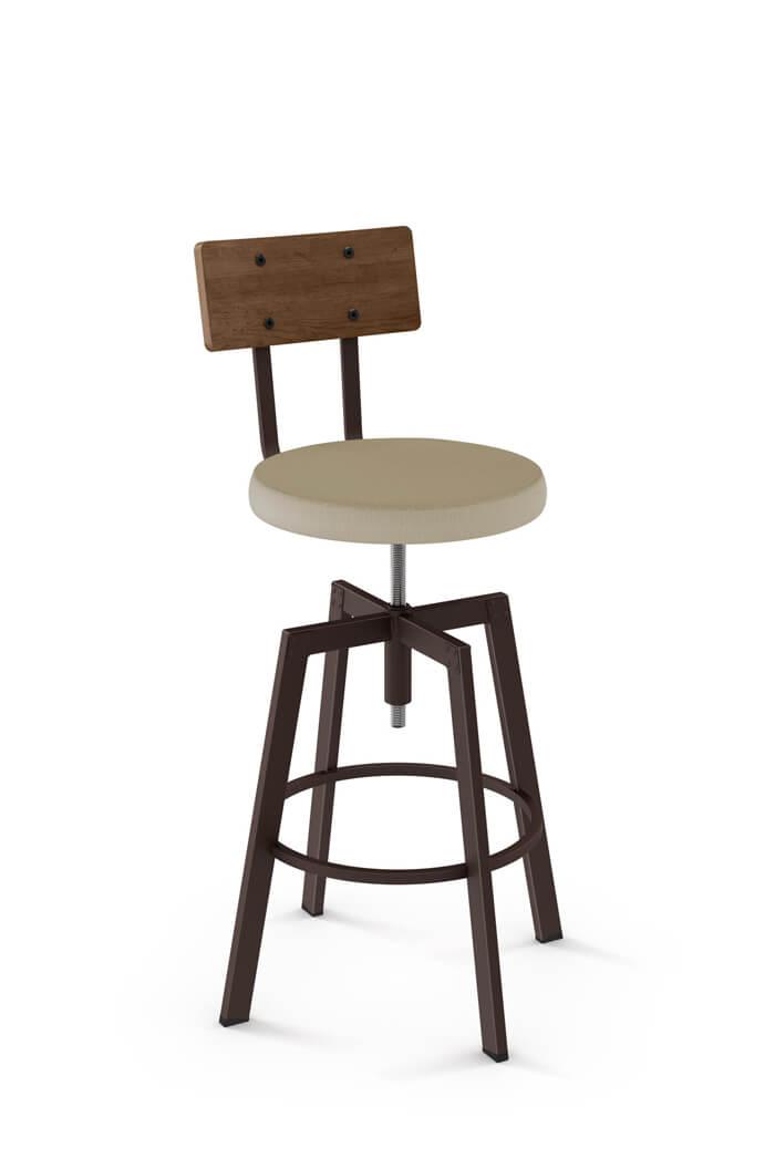 Architect Screw Stool W Wood Backrest Barstool Comforts