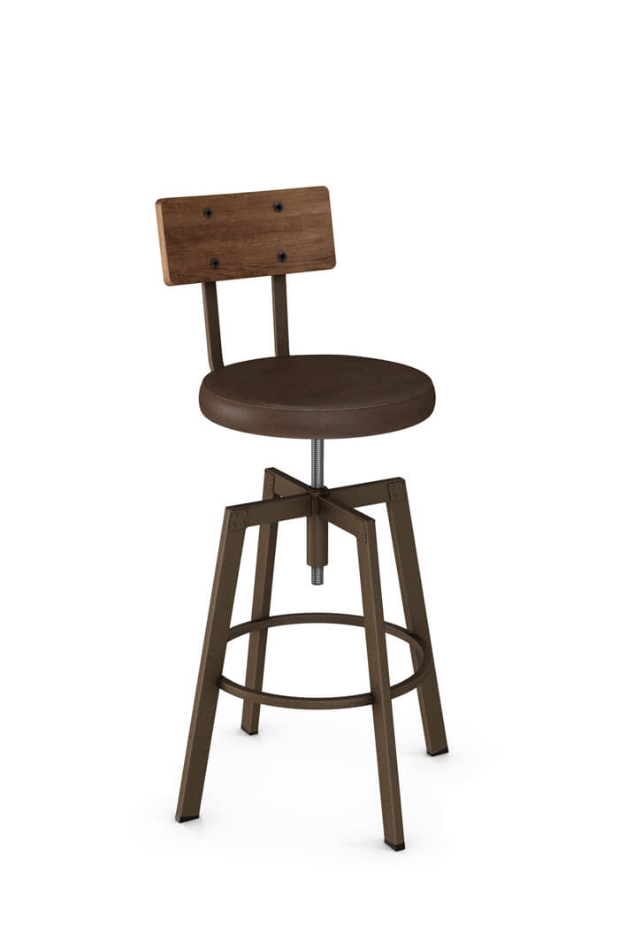 Pleasing Architect Adjustable Screw Stool With Distressed Wood Back Machost Co Dining Chair Design Ideas Machostcouk