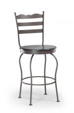 Trica's Latte Traditional Swivel Counter Stool with Elegant Backrest, Round Wood Seat and Metal Frame