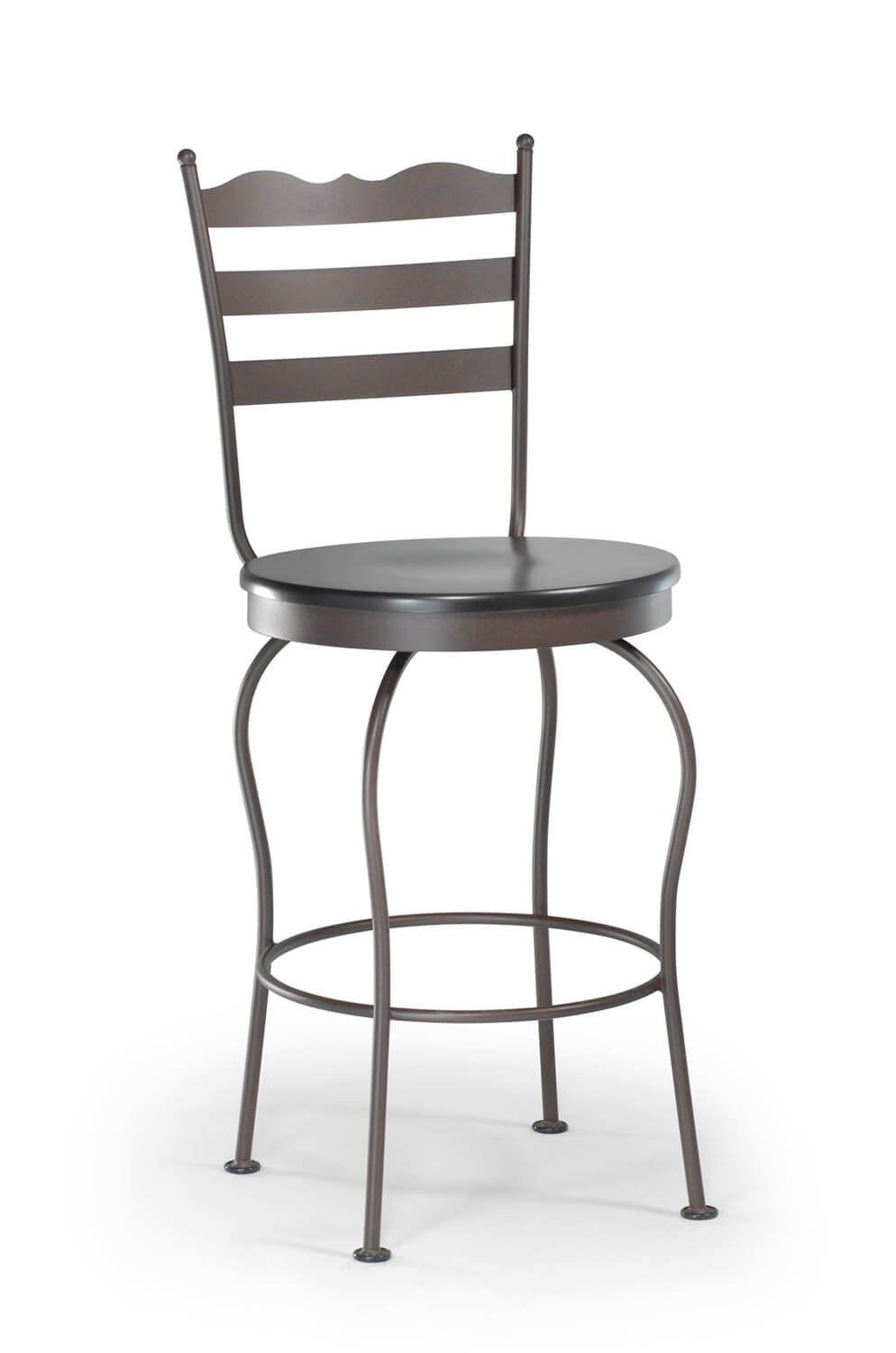 Trica Latte Swivel Stool W Round Wood Seat In Black