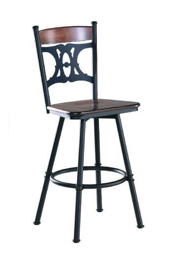 Penelope Swivel Stool with Wood Seat and Backrest