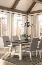 Amisco's Alto Upholstered Dining Chair in Transitional Dining Room with Chandelier