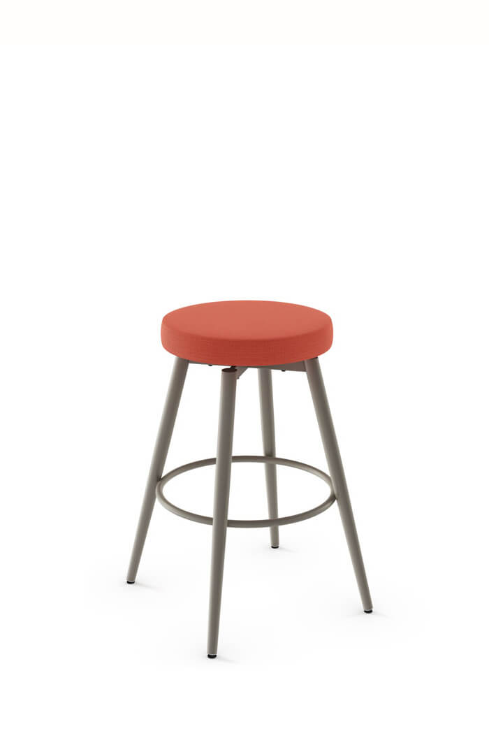 Amisco Nox Backless Swivel Stool in Red Fabric