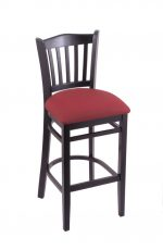 Holland's #3120 Hampton Black Wood Stool in Red Fabric