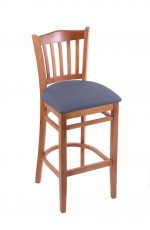 Holland's #3120 Hampton Medium Wood Stool in Blue Fabric