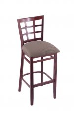 3130 Hampton Dark Cherry Wood Stool in Fabric