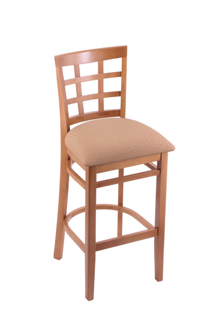 3130 Hampton Medium Wood Stool in Tan Fabric