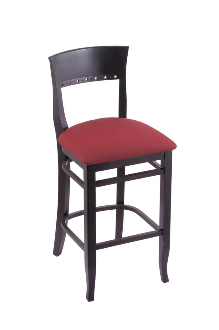 3160 Hampton Black Wood Stool in Red Fabric
