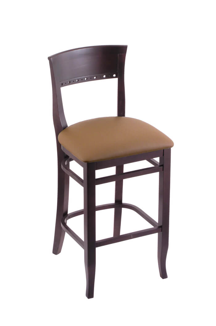 3160 Hampton Dark Cherry Wood Stool in Brown Vinyl