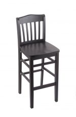 Holland's #3110 Hampton Stationary Wooden Bar Stool with Back in Black Wood Finish