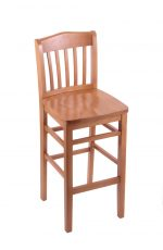 Holland's #3110 Hampton Stationary Wooden Bar Stool with Back in Medium Wood Finish