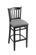 Holland's Hampton 3120 Wooden Barstool in Black Wood Finish and Grey Vinyl Seat