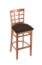 Holland's Hampton 3130 Barstool with Back in Medium Wood and Brown Seat Cushion