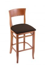 Holland's #3160 Hampton Bar Stool in Medium Wood and Brown Seat Cushion
