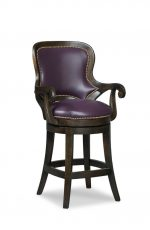 Fairfield's Melrose Wood Swivel Counter Stool with Arms and Nailhead Trim