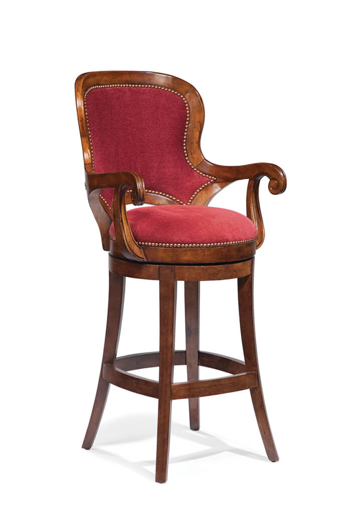 Formal Swivel Counter Or Bar Stool W Nailhead Trim Oval