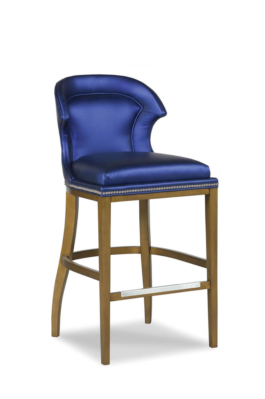 Lander Upholstered Wooden Stool With Back