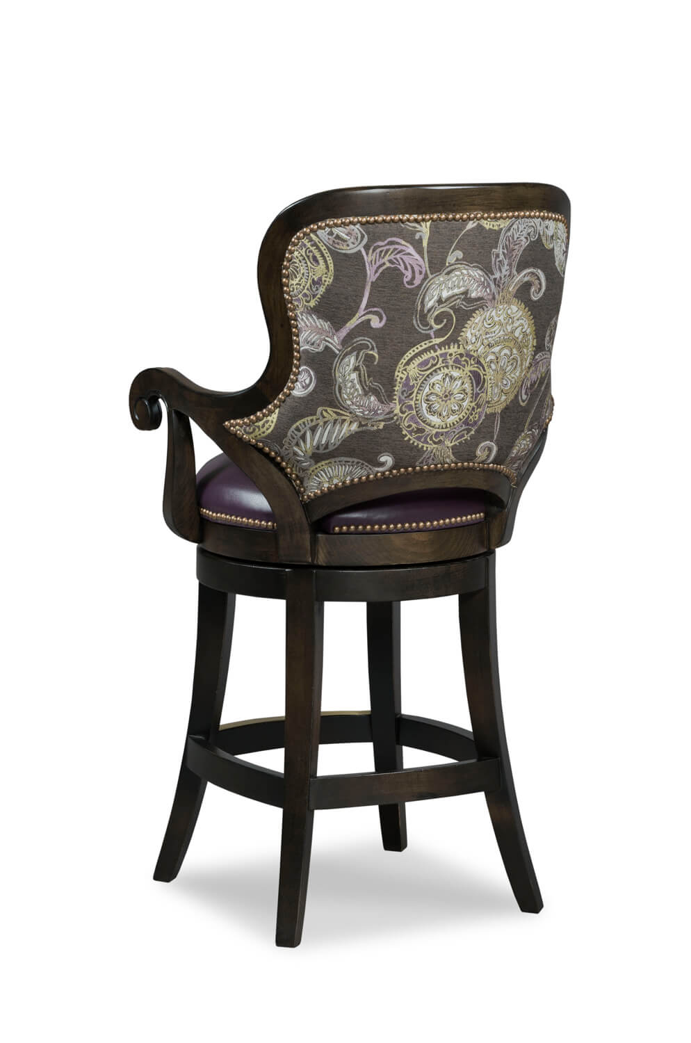 Fairfields melrose swivel wood counter stool with arms backside
