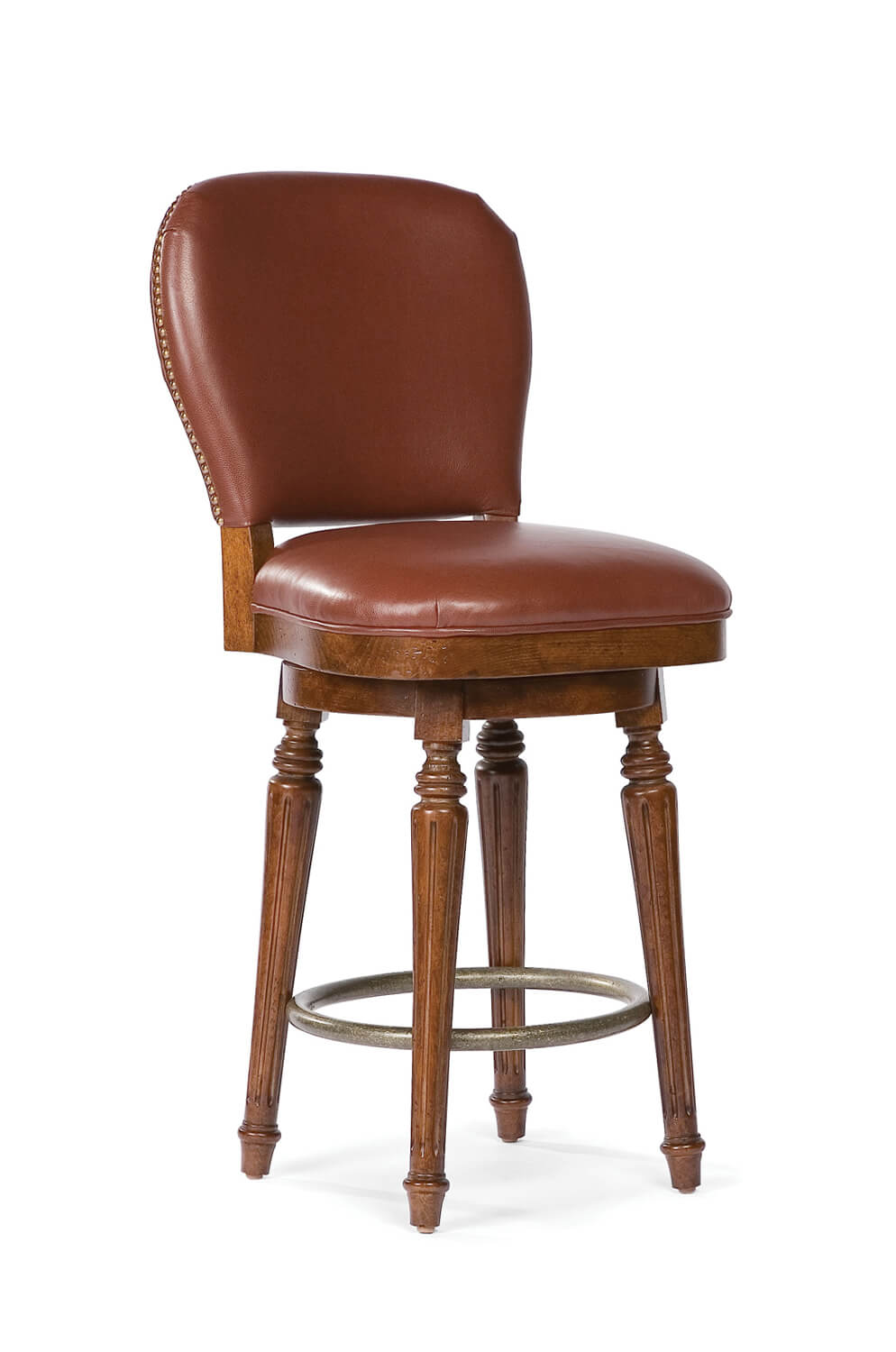 Quincy Comfortable Upholstered Wood Swivel Stool Free