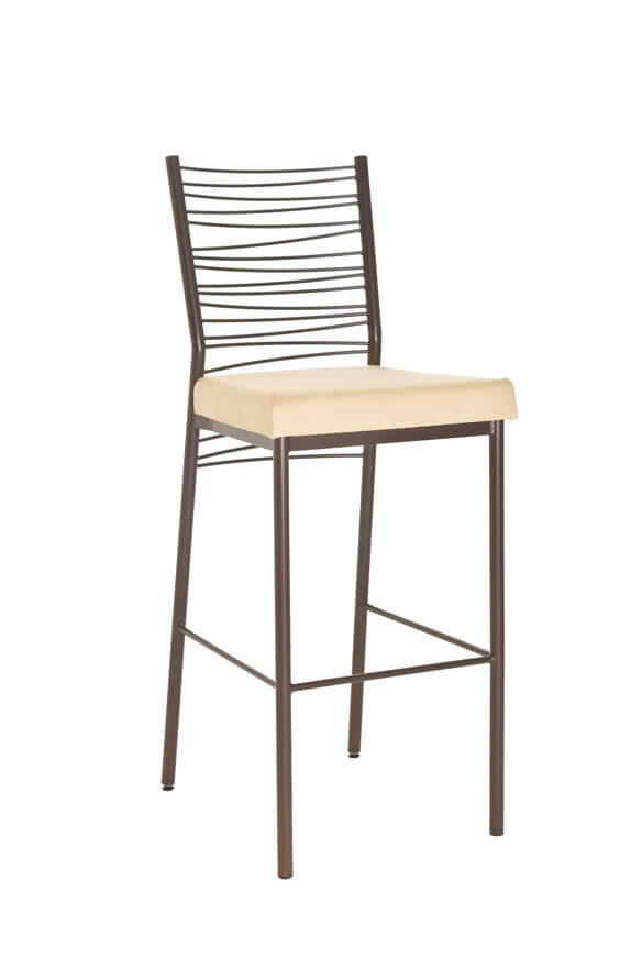 Amisco's Crescent Stationary Bar Stool with Zig Zag Backrest