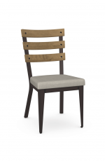 Amisco's Dexter Industrial Dining Chair with Wood Slat Back, Metal Frame, and Seat Cushion