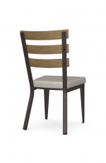 Amisco's Dexter Industrial Dining Chair with Wood Slat Back, Metal Frame, and Seat Cushion - Back View