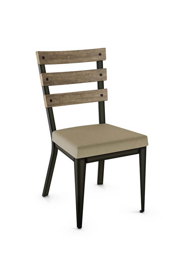Amisco's Dexter Side Chair with Seat Cushion and Hammered Wood Backrest