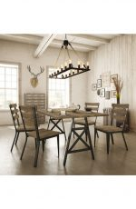 Amisco's Dexter Armless Dining Chairs in Industrial Dining Room
