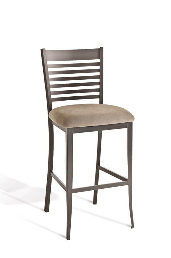 Amisco's Edwin Stationary Bar Stool with Back and Seat Cushion