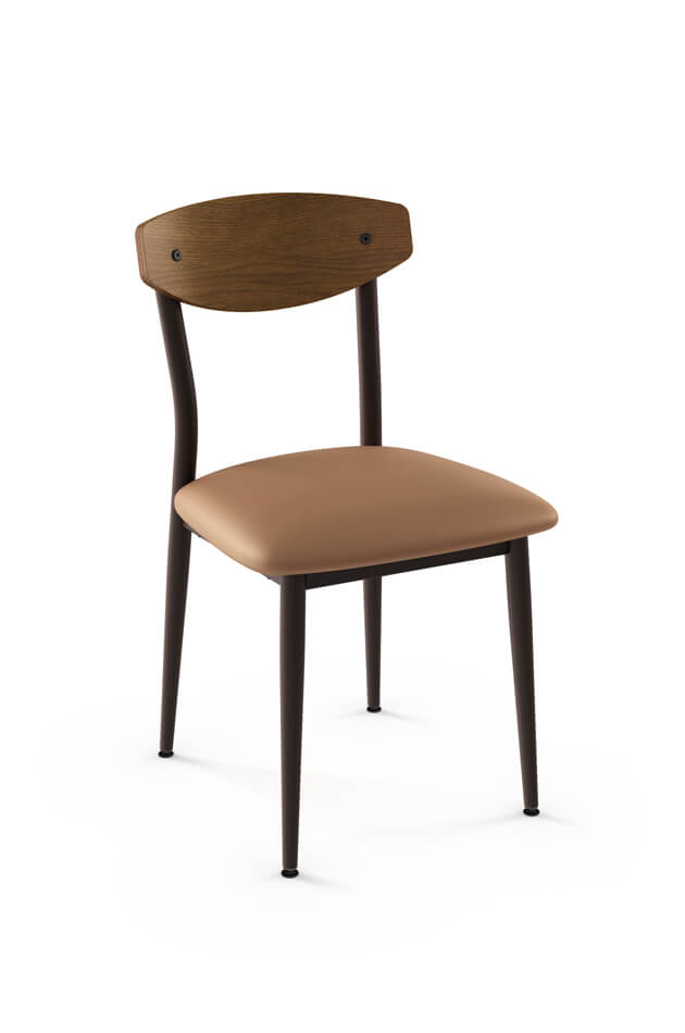 Amisco's Hint Side Chair with Wood Backrest and Seat Cushion