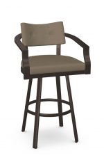 Amisco's Jonas Big-and-Tall Barstool in Brown with Arms