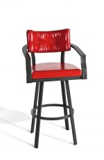 Amisco's Jonas Swivel Bar Stool with Arms - in Red Vinyl