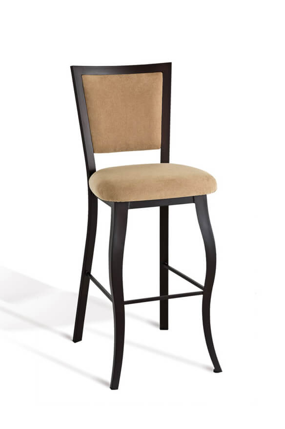 Amisco's Juliet Stationary Stool with Cabriole Legs and Upholstered Back